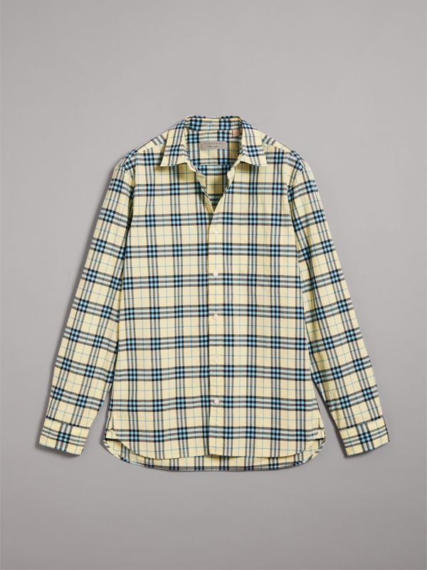 Check Cotton Shirt in Chalk Yellow - Men | Burberry United Kingdom - cell image 3