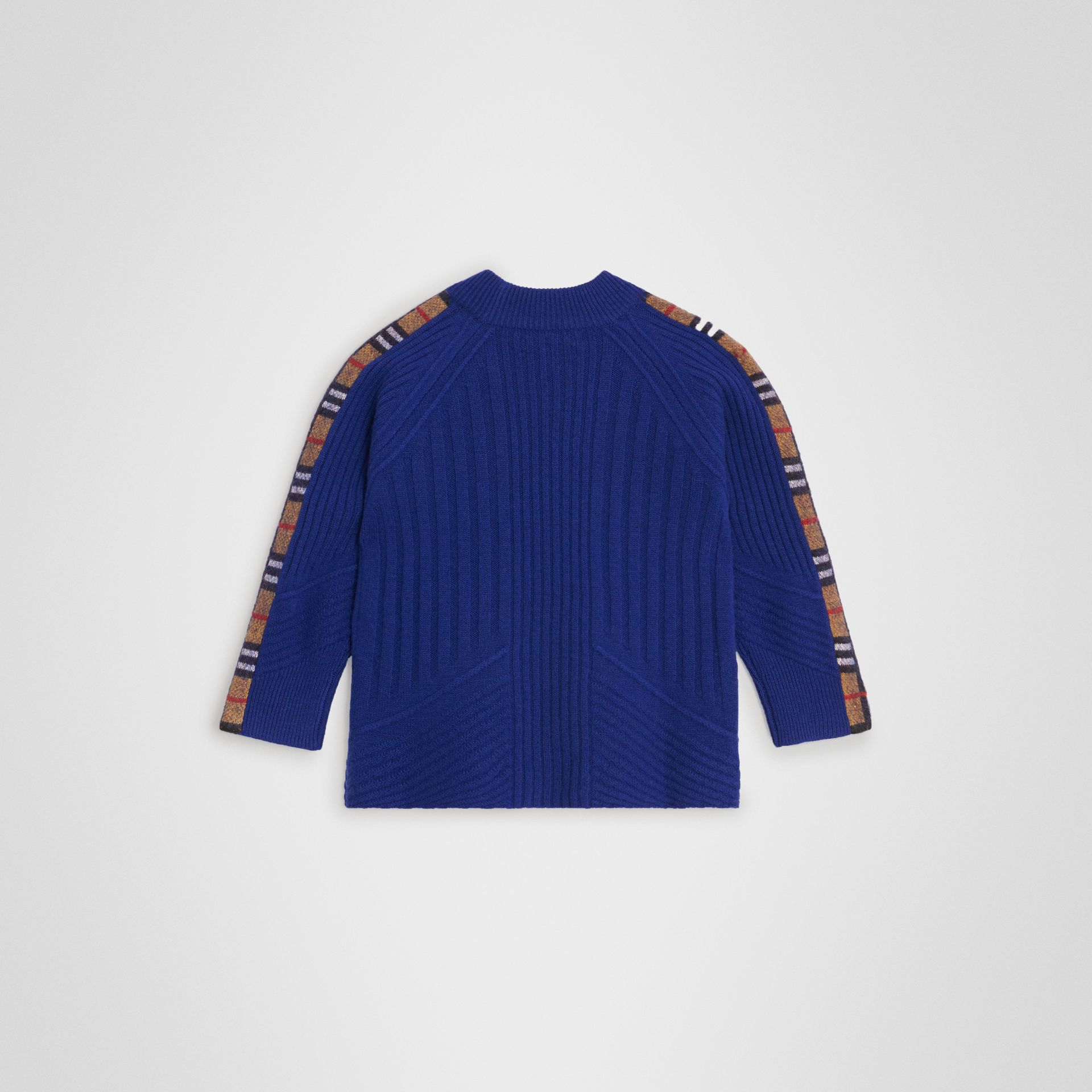 Check Detail Wool Cashmere Sweater in Cobalt Blue | Burberry - gallery image 3