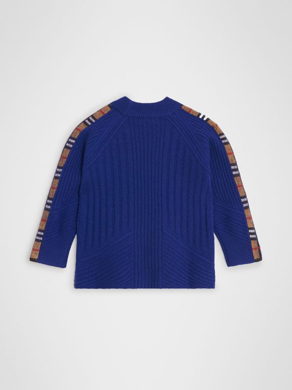 Check Detail Wool Cashmere Sweater in Cobalt Blue | Burberry - cell image 3