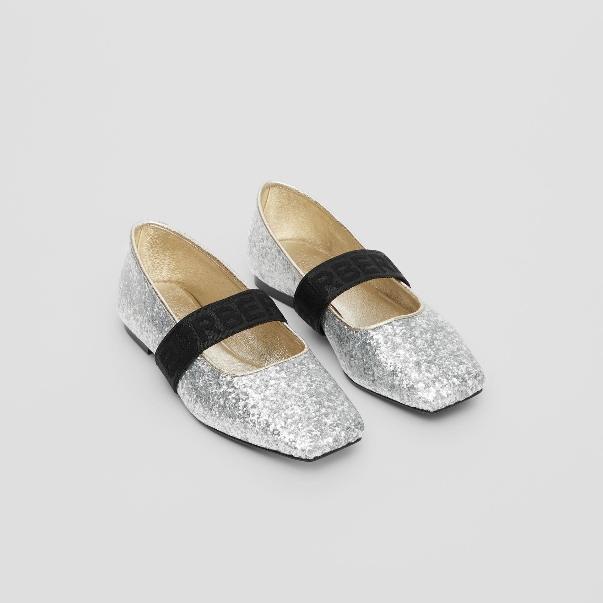 Logo Detail Glittery Flats in Silver - Children | Burberry - gallery image 0