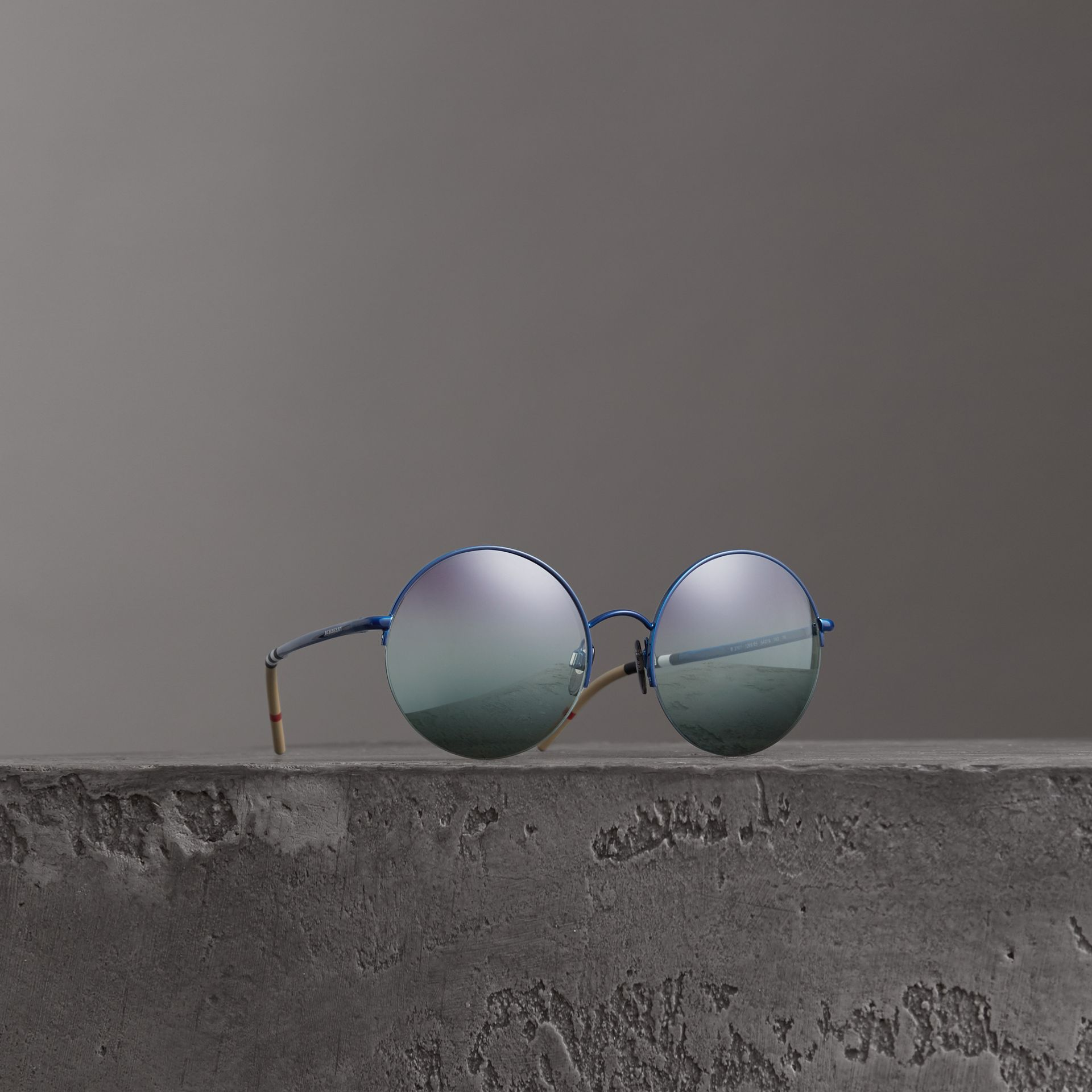 Check Detail Round Frame Sunglasses in Blue - Women | Burberry Canada - gallery image 0
