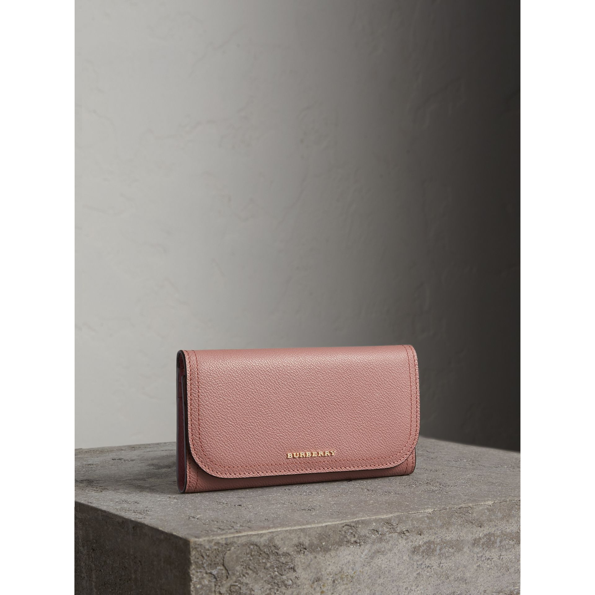 Leather Continental Wallet with Removable Coin Case in Dusty Pink - Women | Burberry - gallery image 1