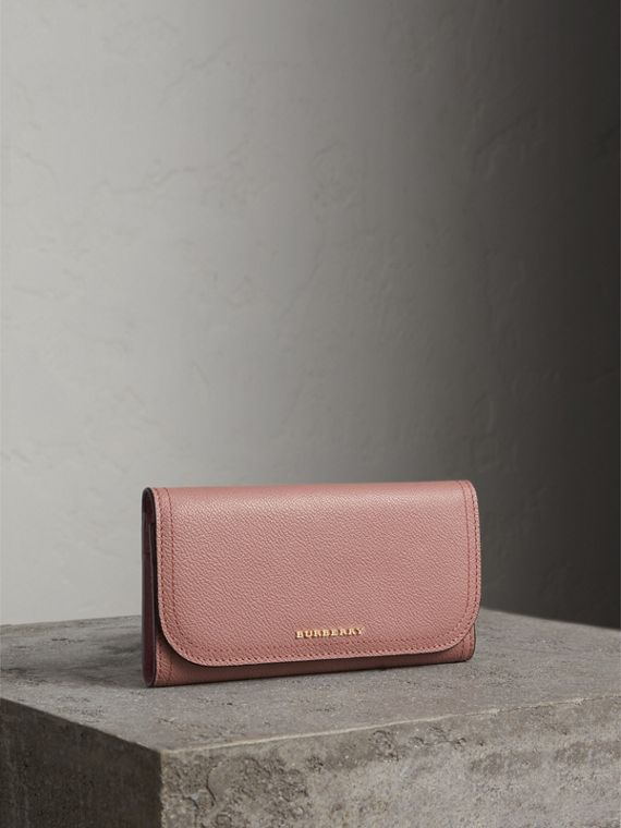 Leather Continental Wallet with Removable Coin Case in Dusty Pink
