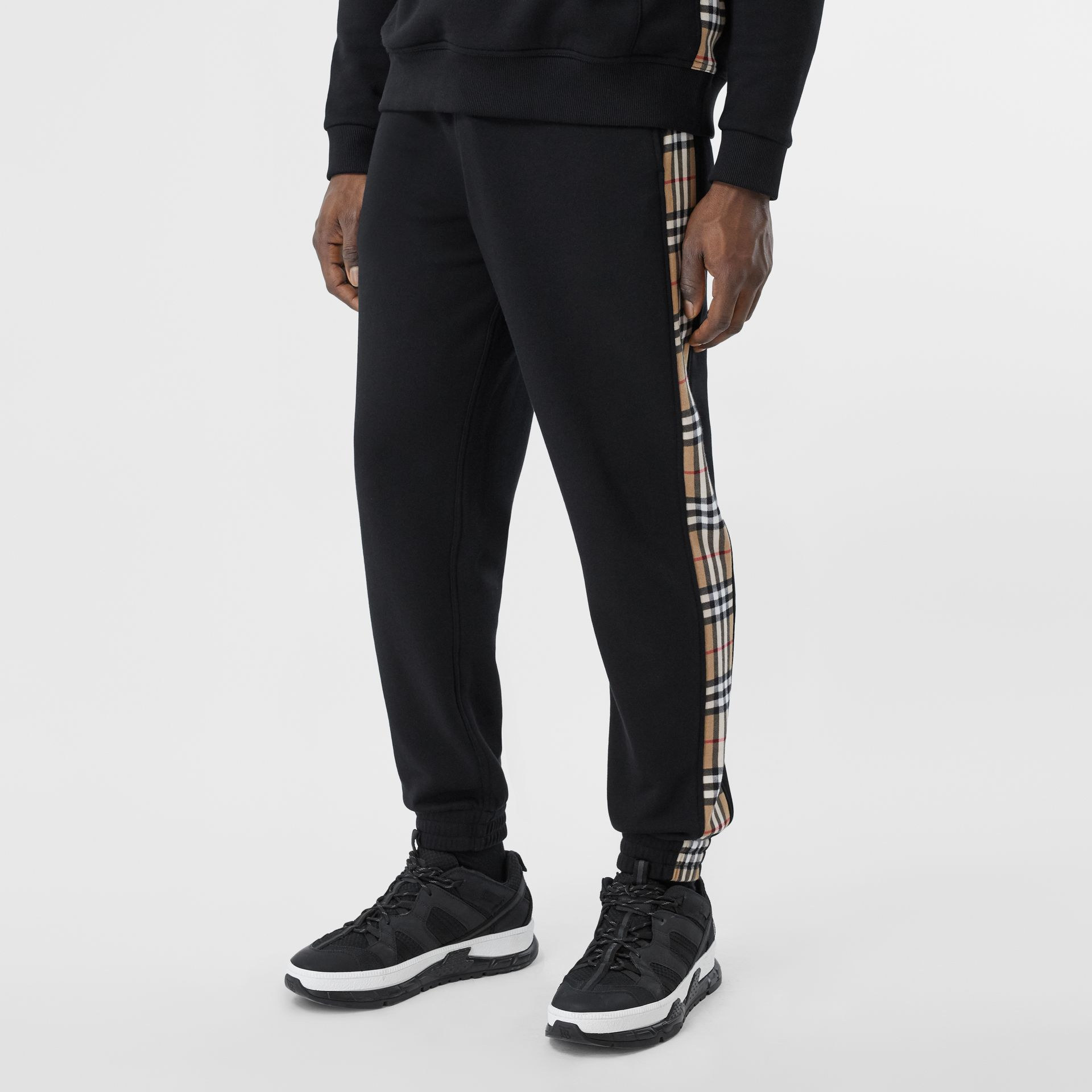 Vintage Check Panel Cotton Trackpants in Black - Men | Burberry United Kingdom - gallery image 4