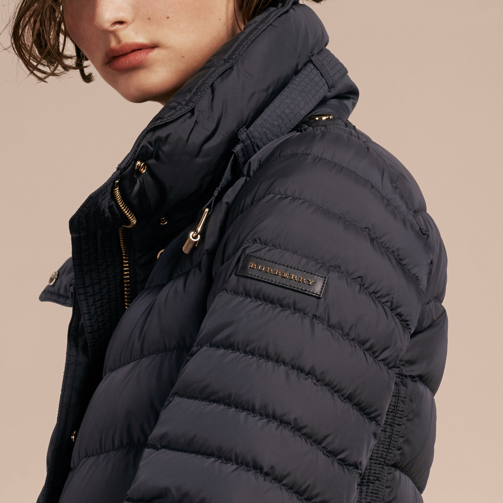 Navy Down-filled Puffer Jacket with Packaway Hood Navy - gallery image 5