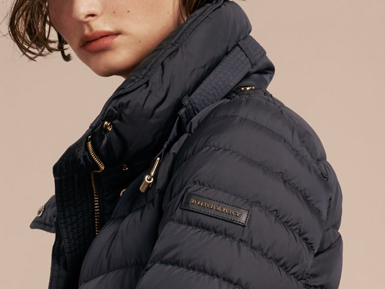 Navy Down-filled Puffer Jacket with Packaway Hood Navy - cell image 4
