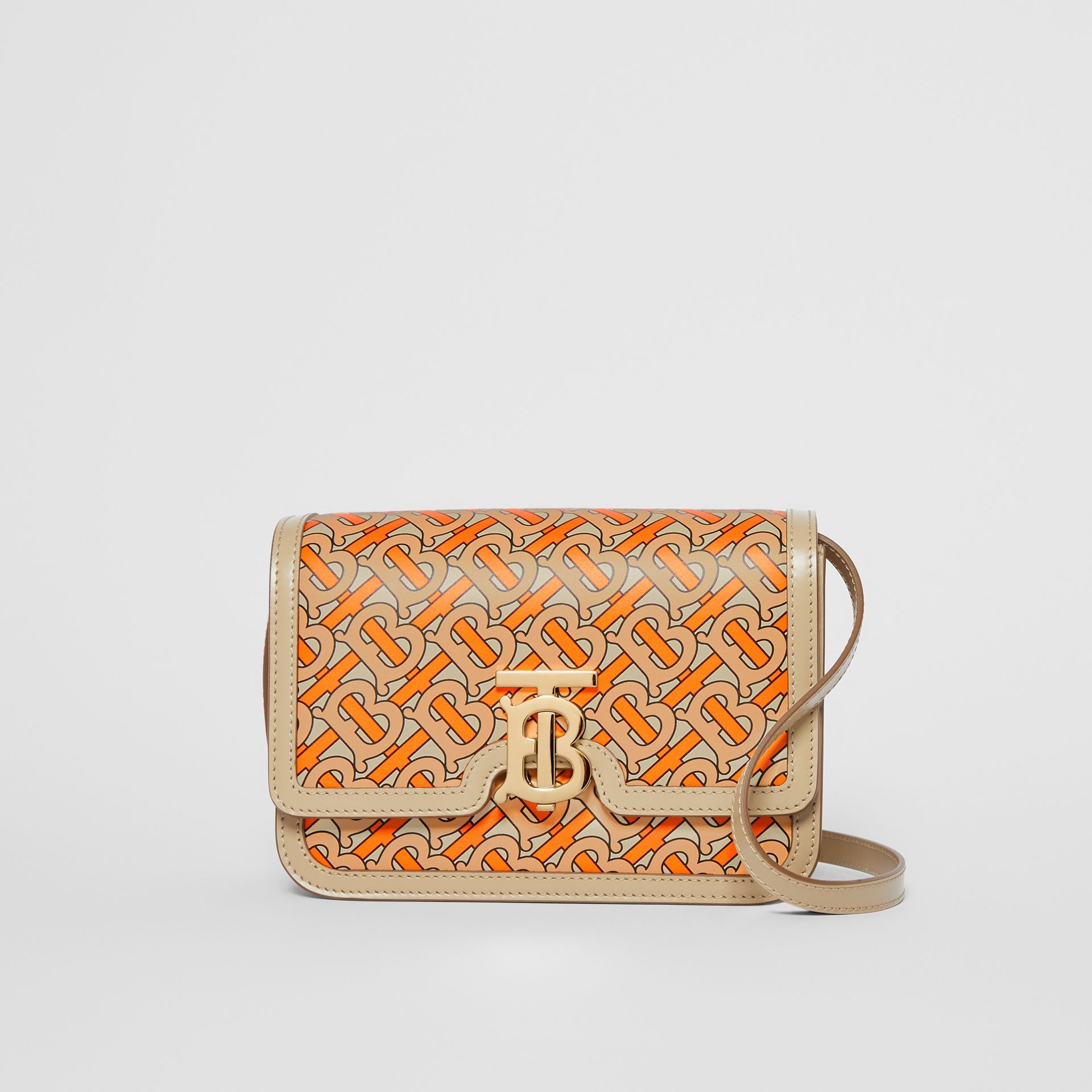 Small Monogram Print Leather TB Bag in Bright Orange - Women | Burberry Canada - gallery image 0