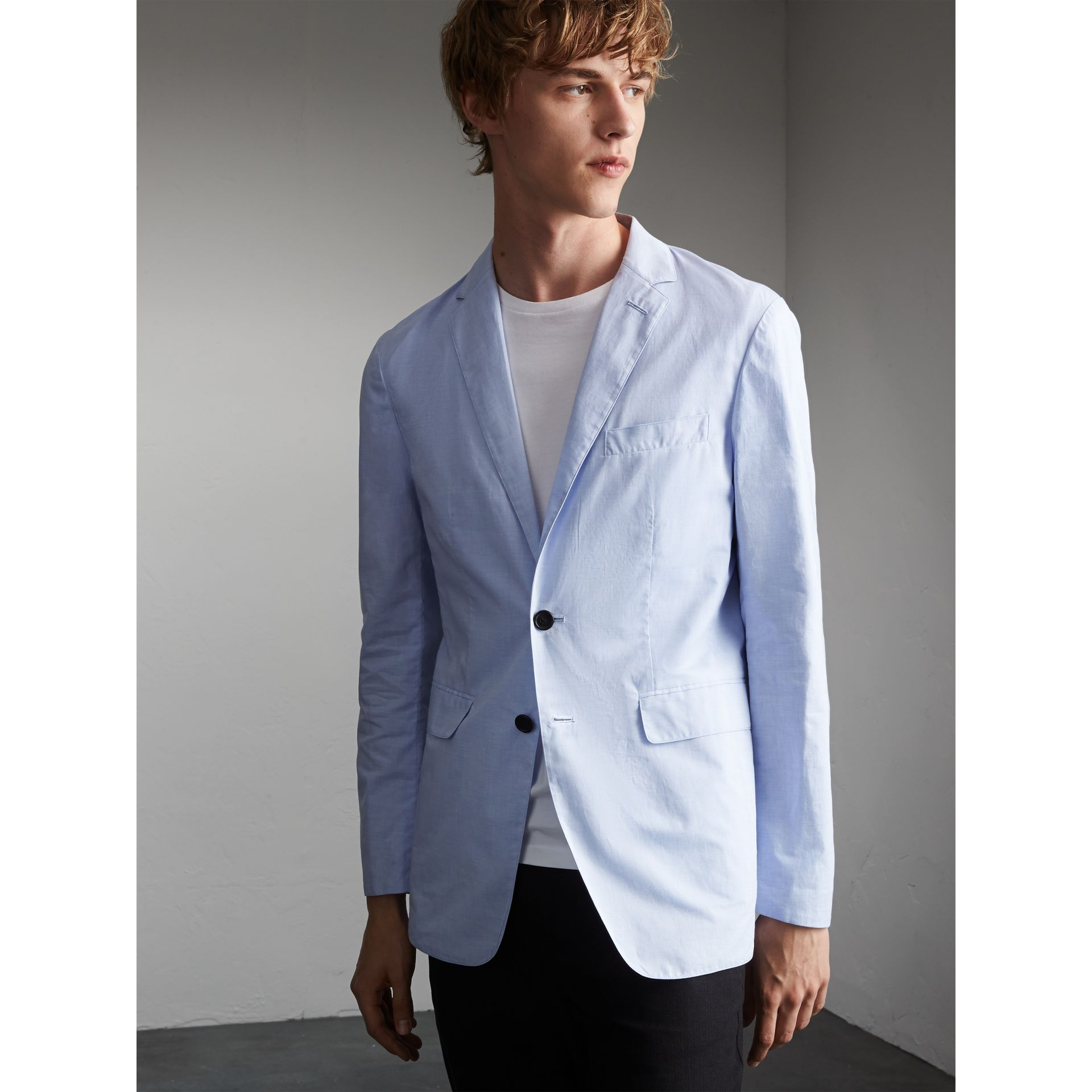 Lightweight Cotton Chambray Blazer in Pale Blue - Men | Burberry - gallery image 5