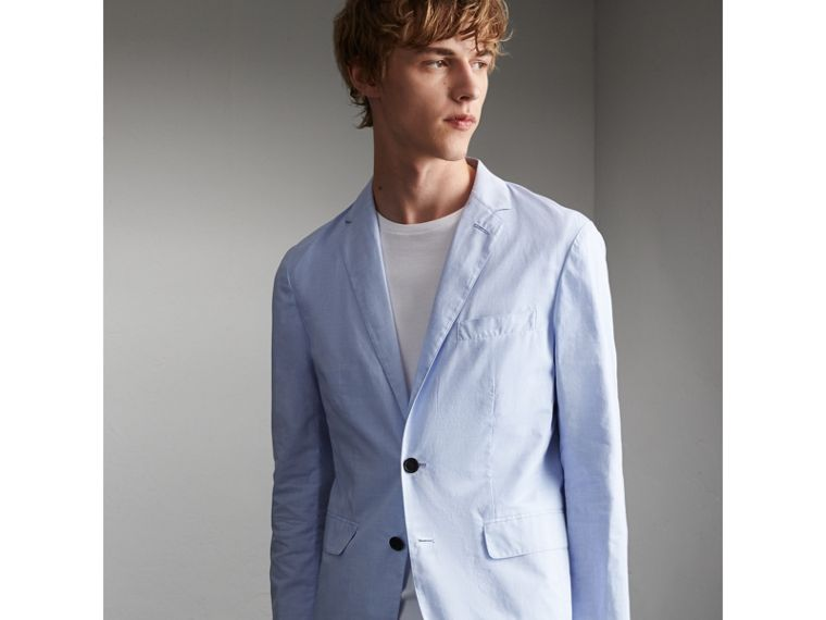 Lightweight Cotton Chambray Blazer in Pale Blue - Men | Burberry - cell image 4