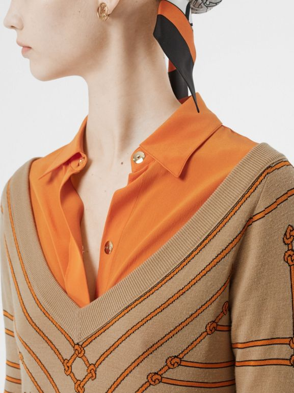 Rope Silk Wool Jacquard V-neck Sweater in Honey - Women | Burberry - cell image 1