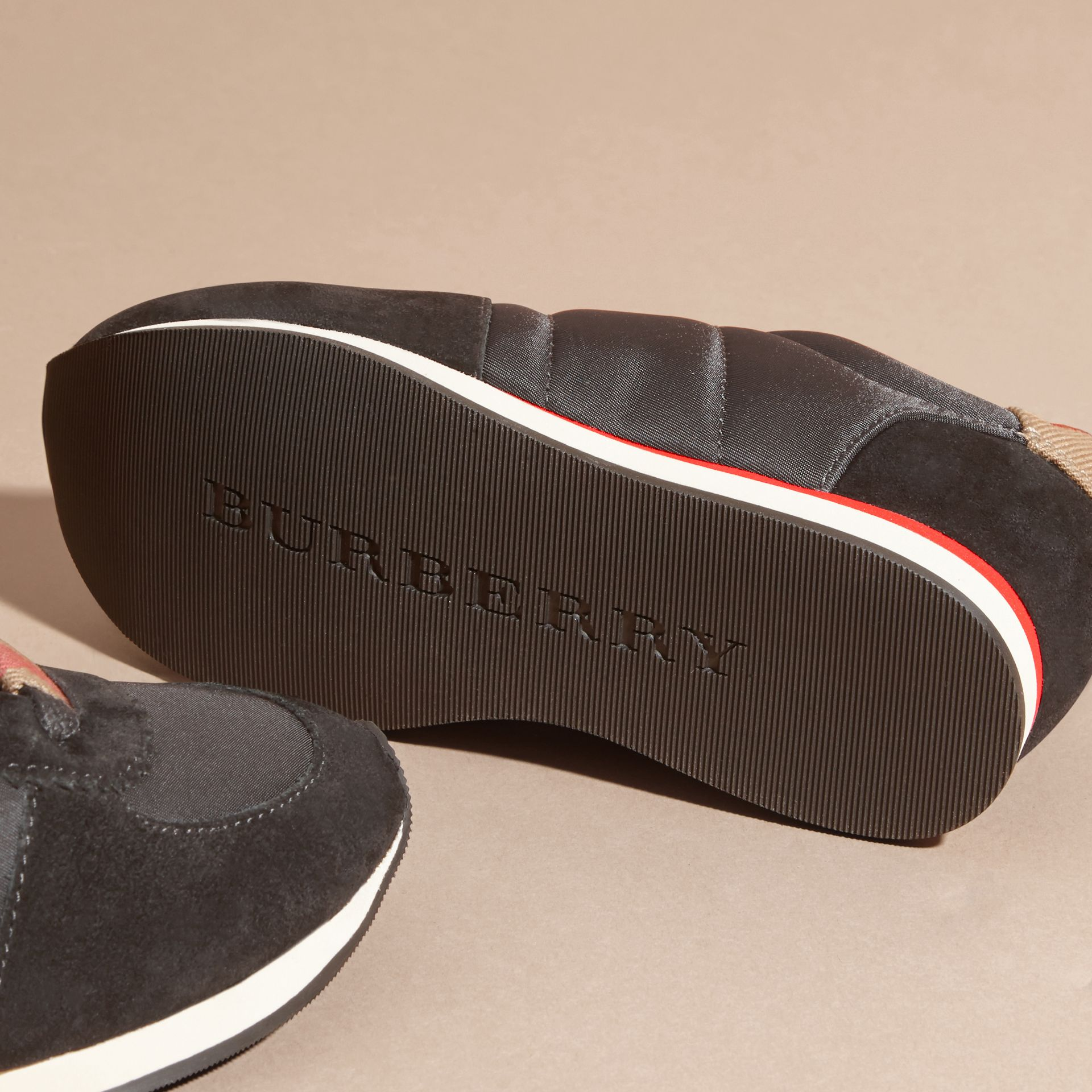 House Check Trim Suede and Technical Nylon Sneakers in Black | Burberry - gallery image 2