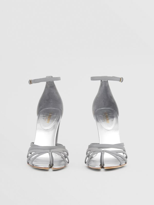 Split-toe Detail Leather Sandals in Cloud Grey - Women | Burberry Canada - cell image 3