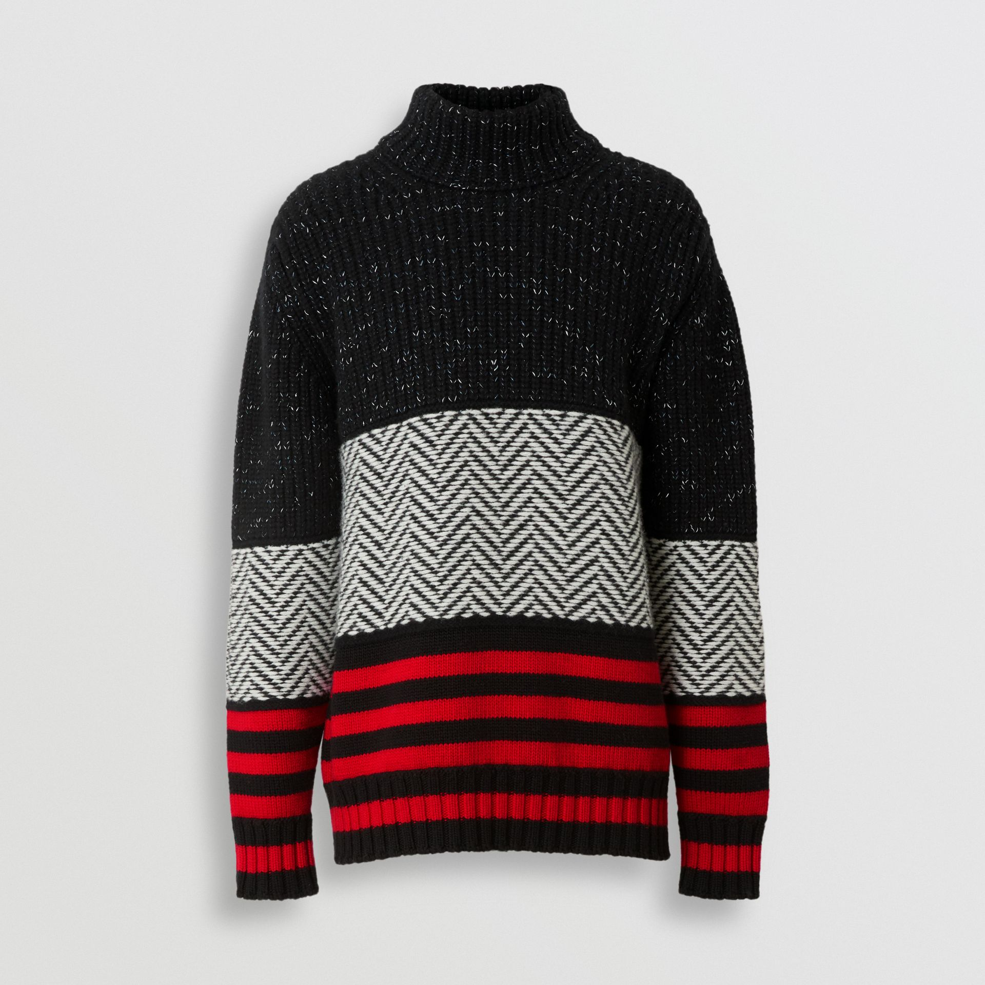 Contrast Knit Wool Cashmere Blend Sweater in Black - Men | Burberry - gallery image 3