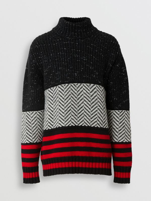 Contrast Knit Wool Cashmere Blend Sweater in Black - Men | Burberry - cell image 3