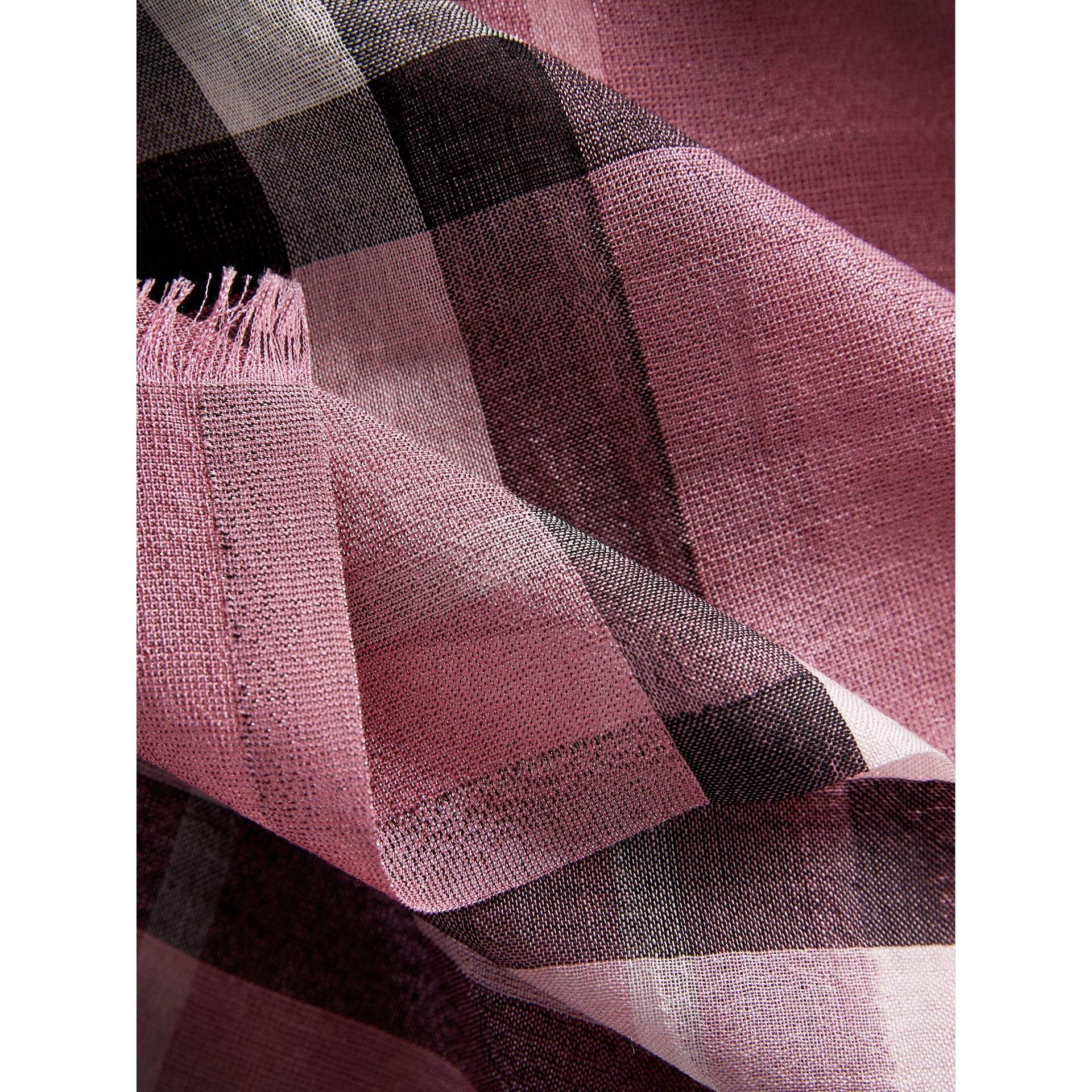 Metallic Check Silk and Wool Scarf in Bright Pink - Women | Burberry United Kingdom - gallery image 1