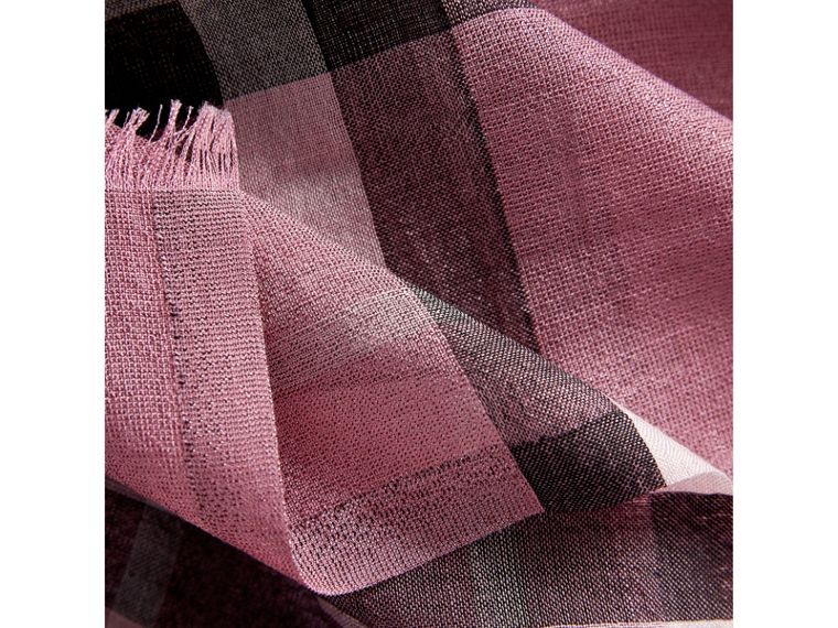Metallic Check Silk and Wool Scarf in Bright Pink - Women | Burberry - cell image 1