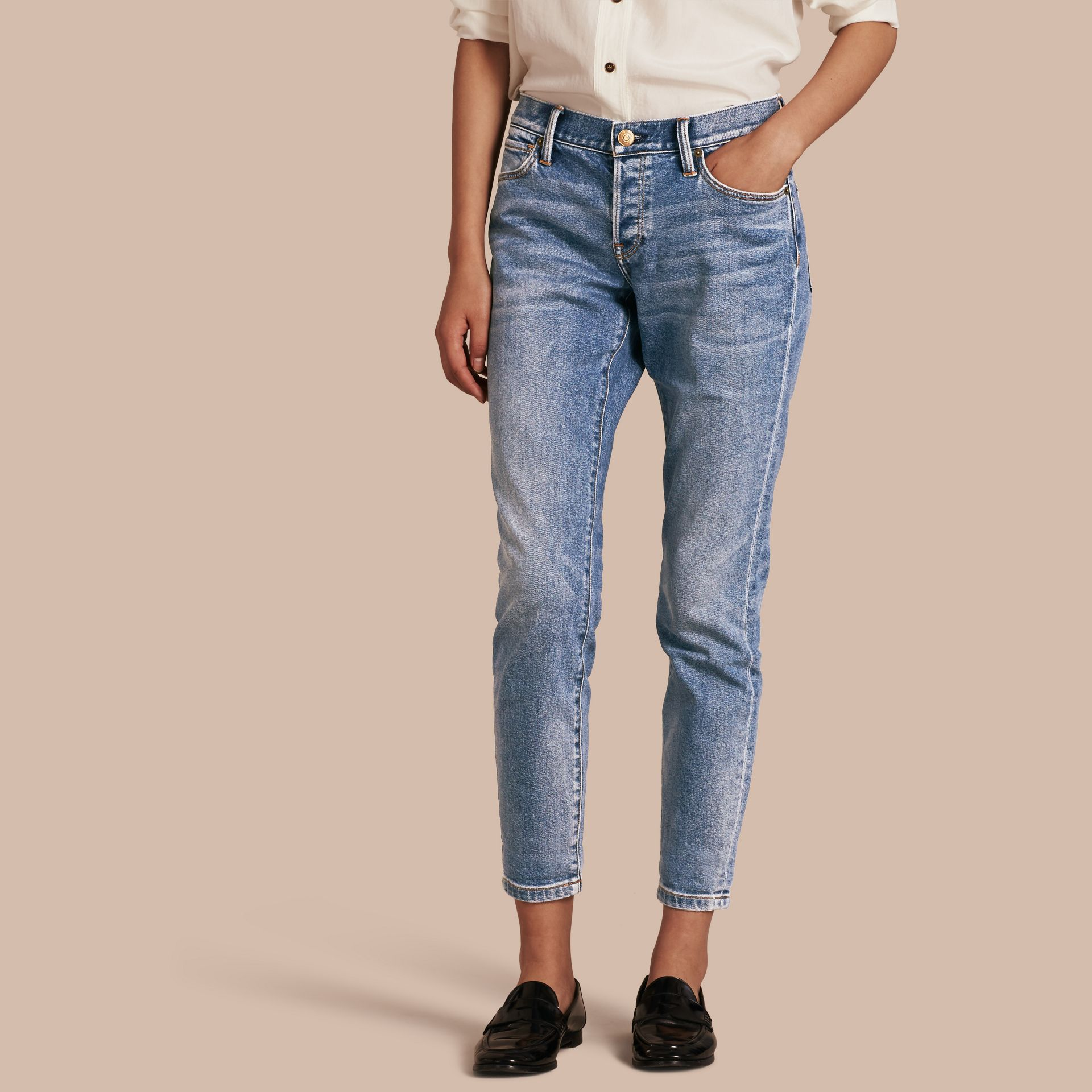 Pale blue Relaxed Fit Stretch Indigo Jeans - gallery image 1