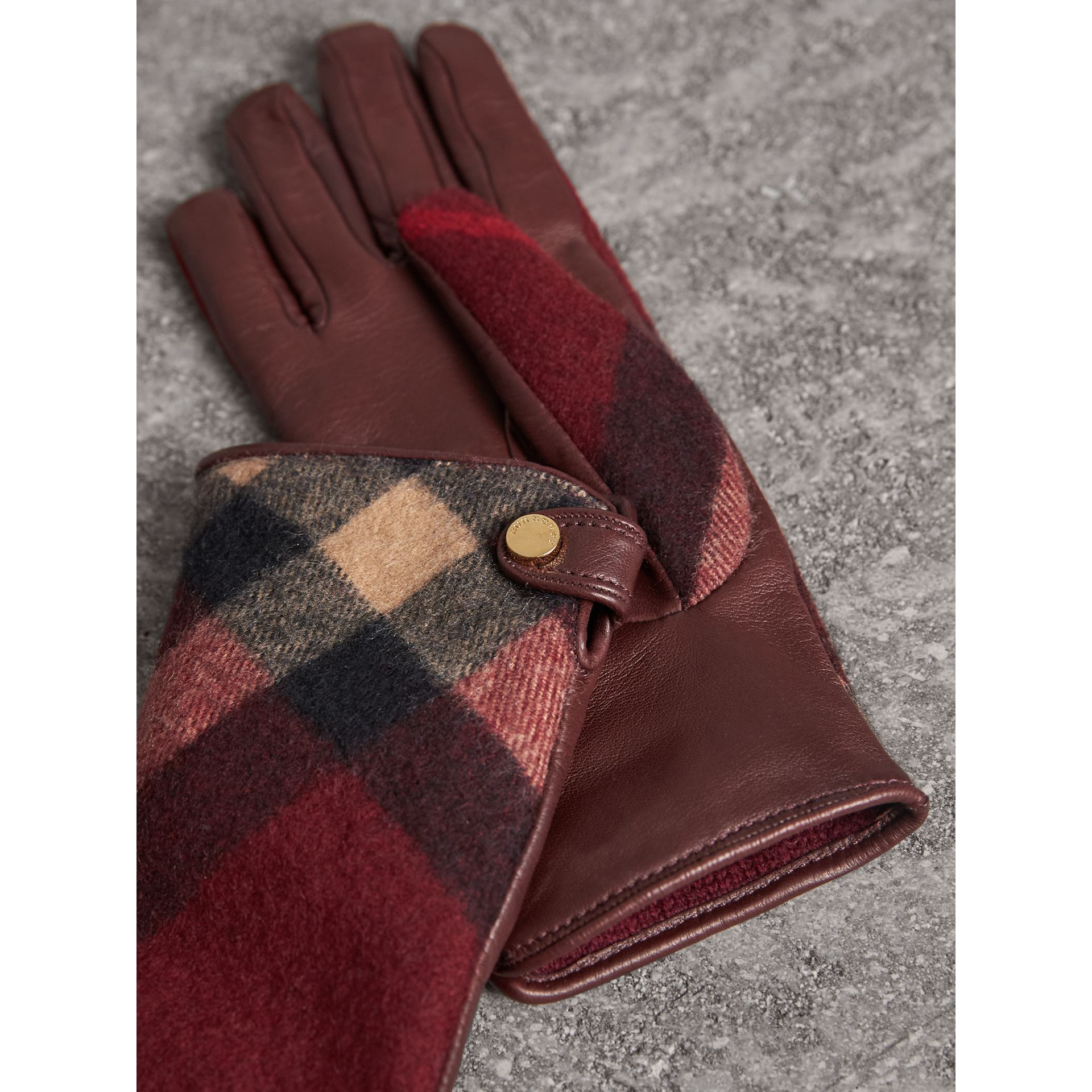 Leather and Check Cashmere Gloves in Claret - Women | Burberry - gallery image 3