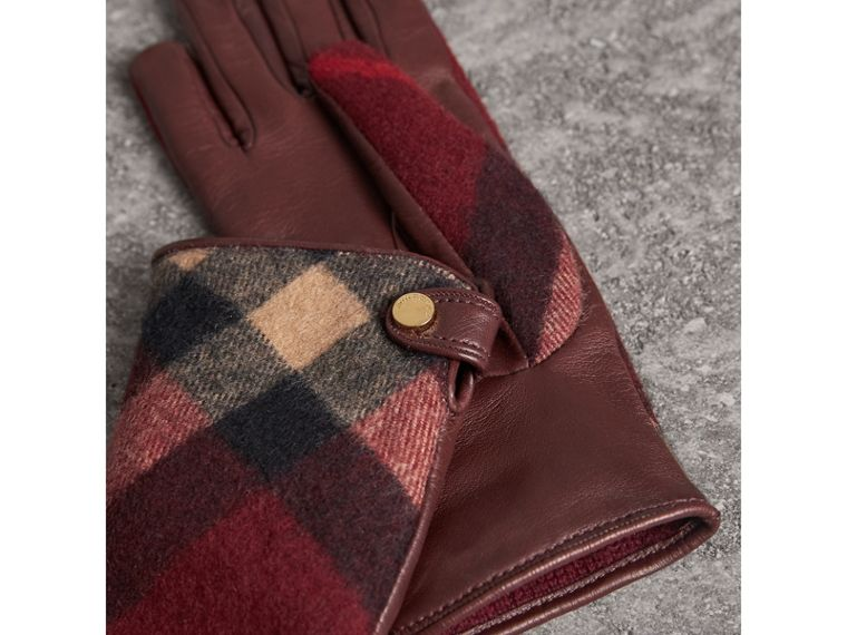 Leather and Check Cashmere Gloves in Claret - Women | Burberry - cell image 2
