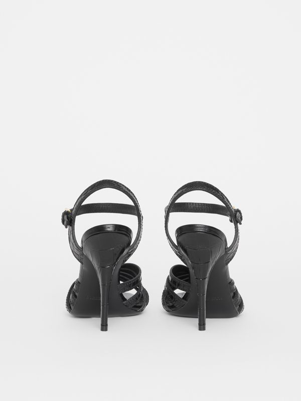 Knot Detail Embossed Leather Sandals in Black - Women | Burberry United States - cell image 3