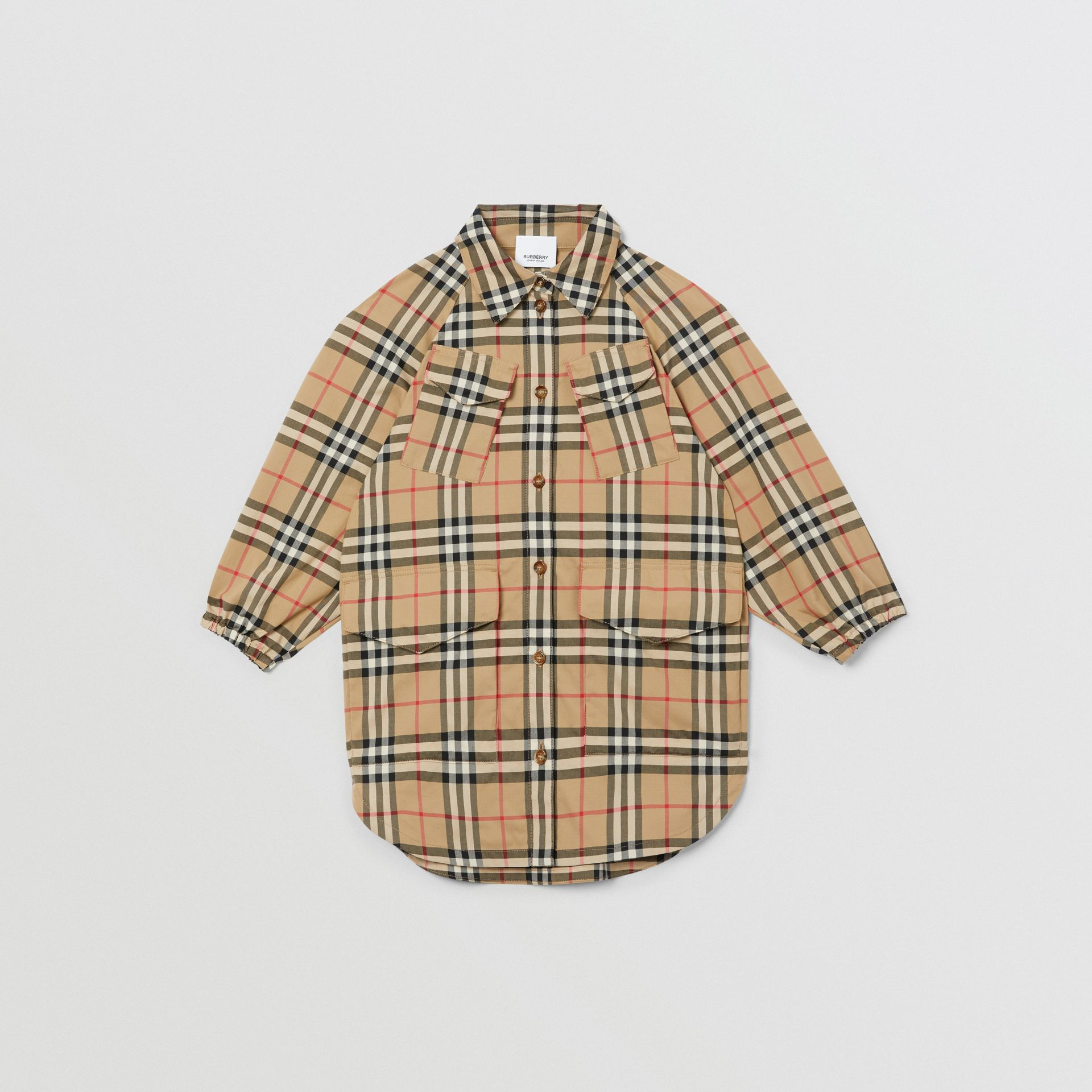 Vintage Check Cotton Shirt Dress in Archive Beige | Burberry Canada - gallery image 0