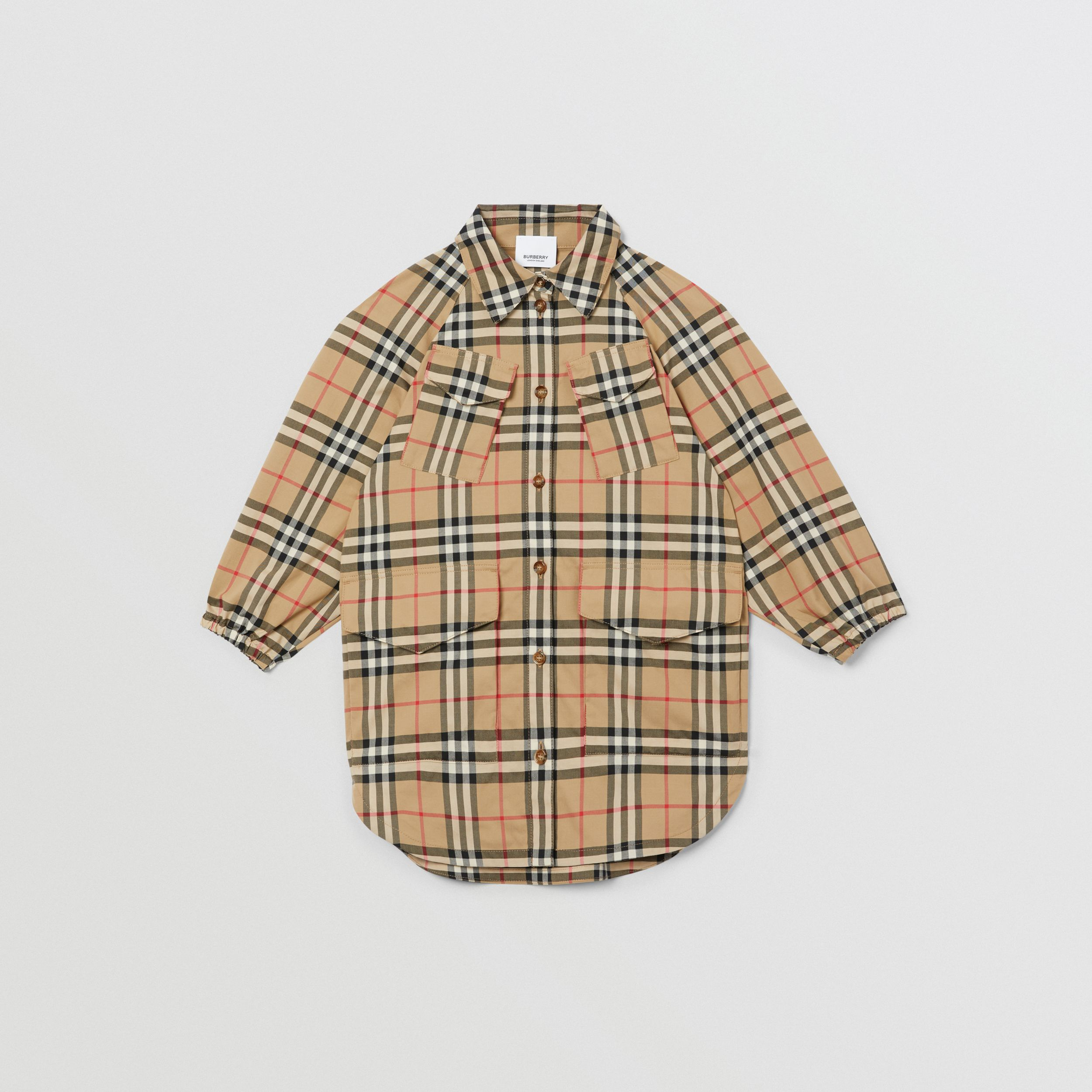 Vintage Check Cotton Shirt Dress in Archive Beige | Burberry - 1