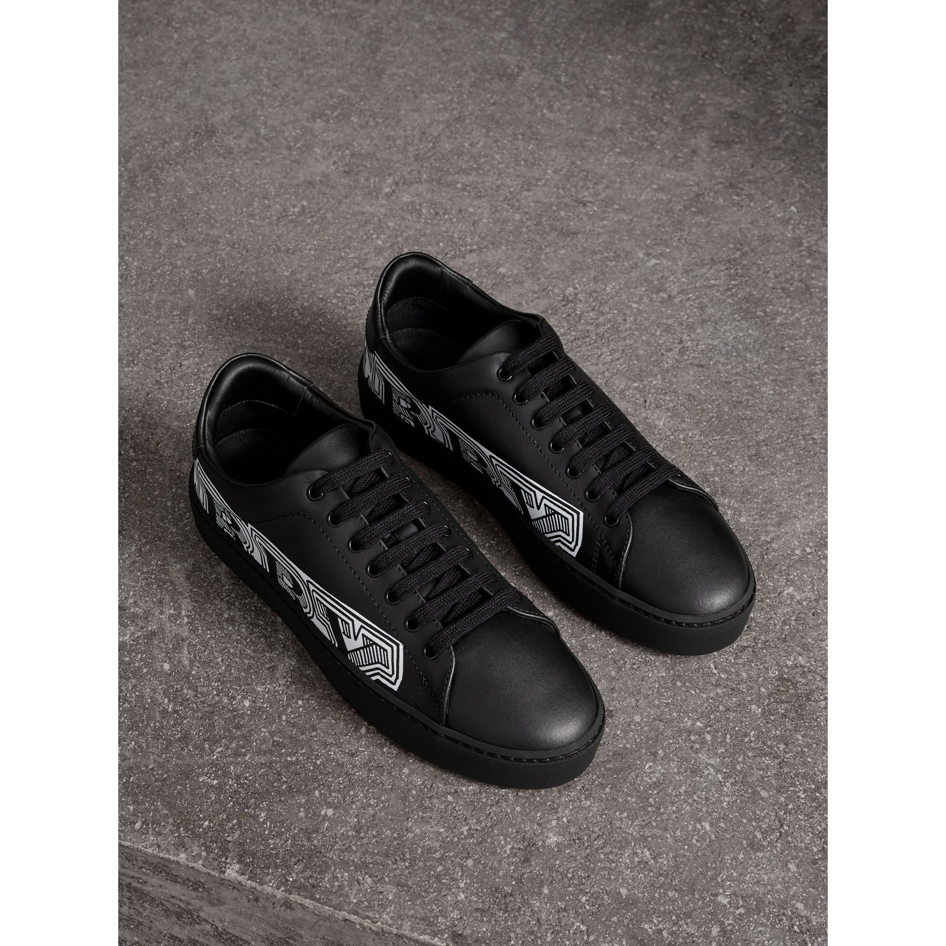 Doodle Print Leather Trainers in Black | Burberry - gallery image 1