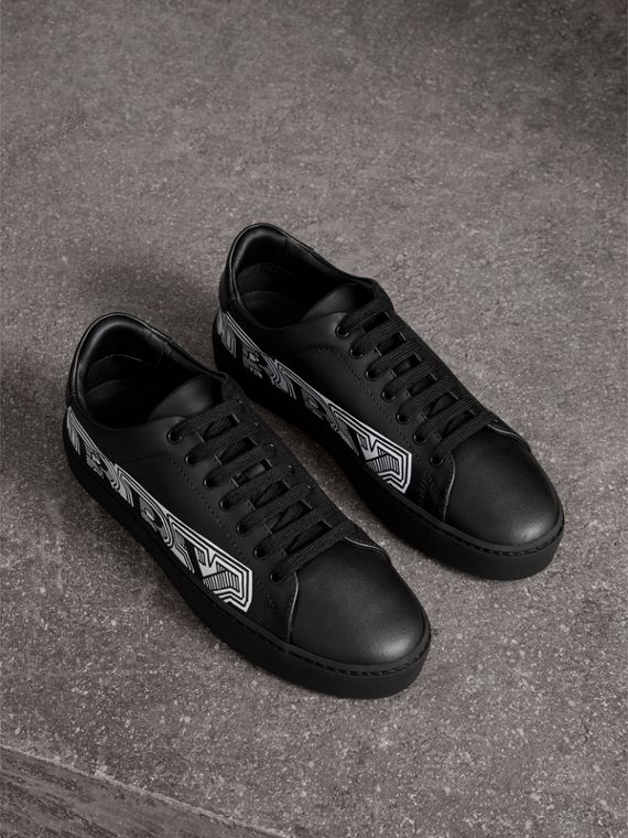 Doodle Print Leather Trainers in Black