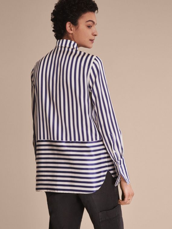 Wing Collar Striped Silk Cotton Shirt - Women | Burberry - cell image 2