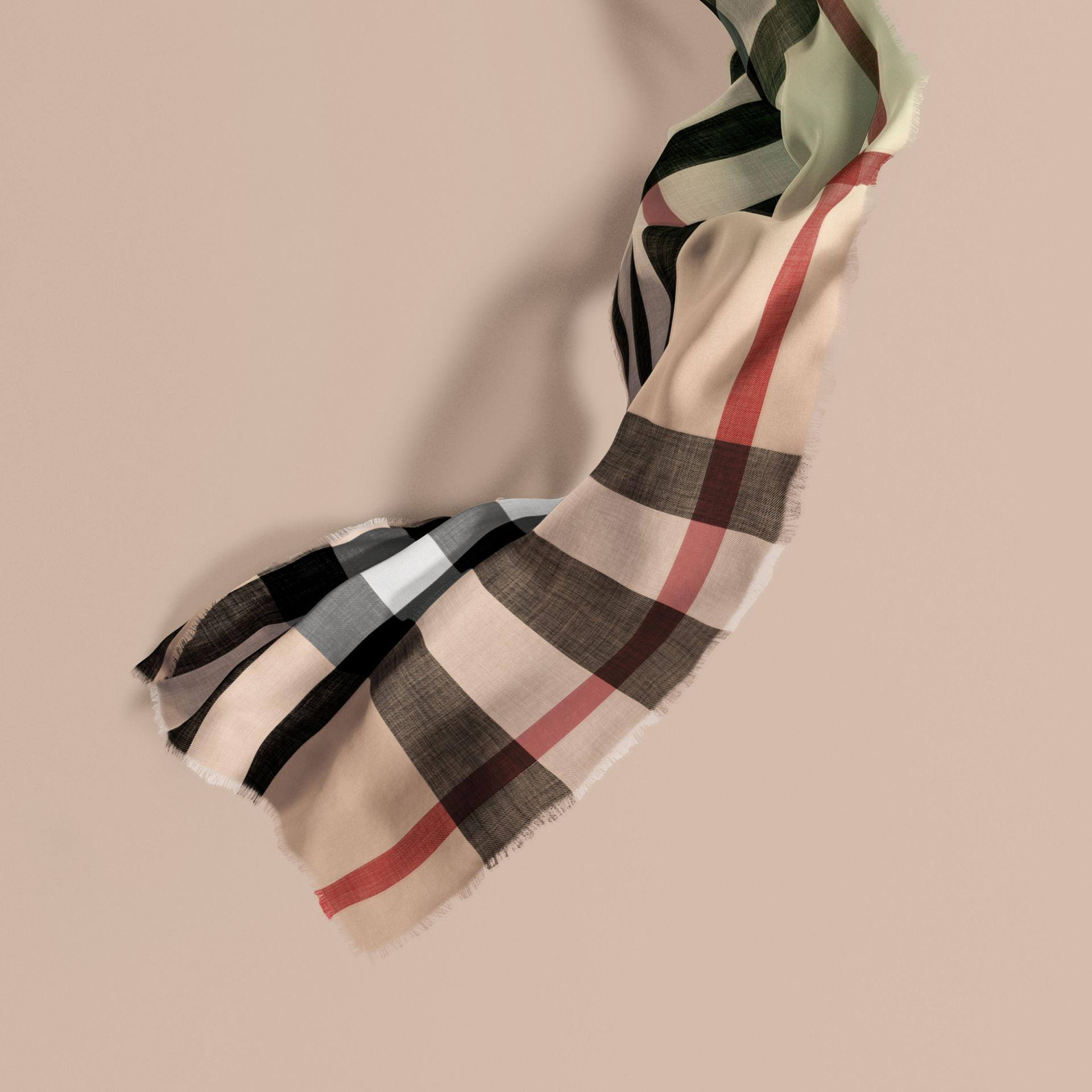 The Lightweight Cashmere Scarf in Ombré Check in Apple Green | Burberry - gallery image 1