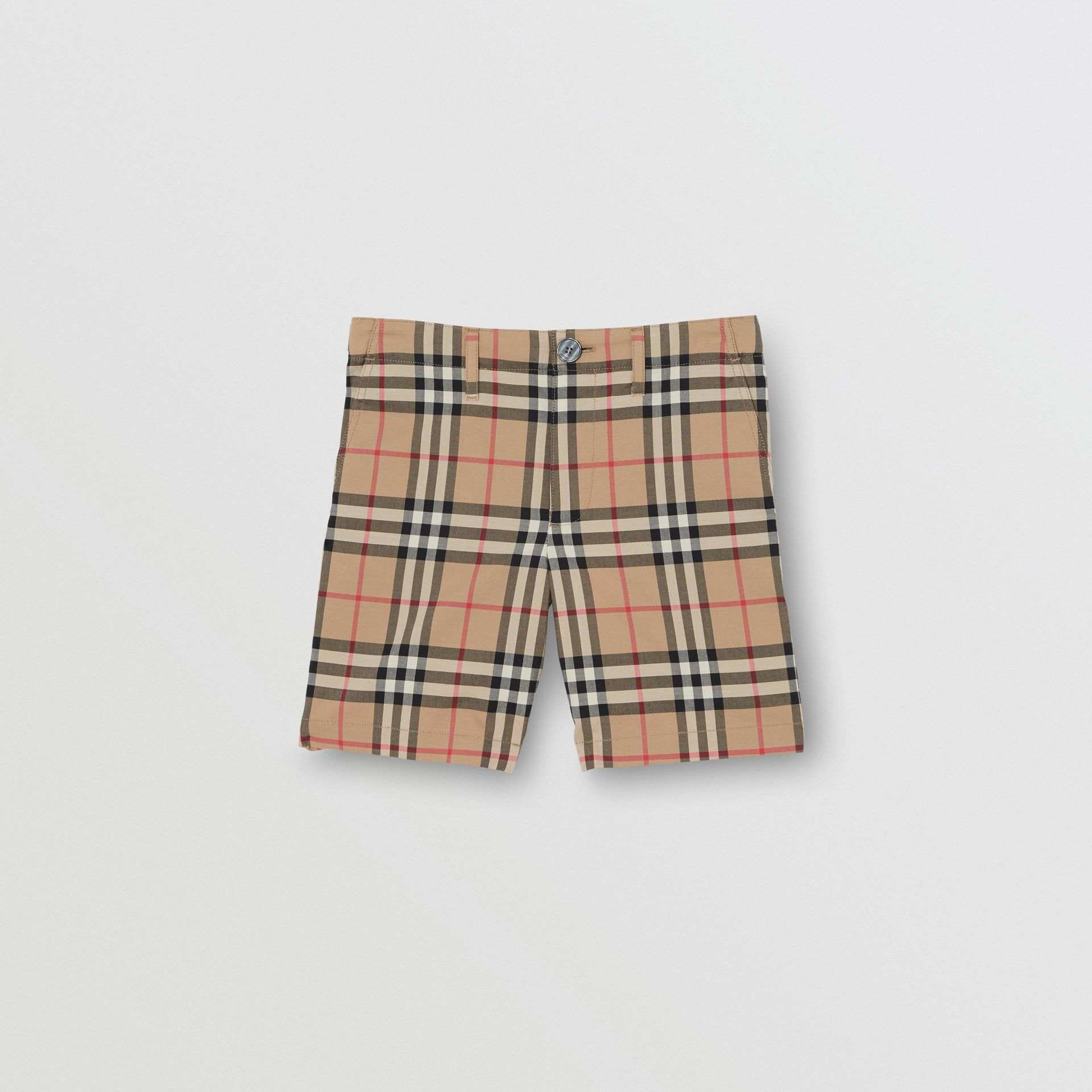 Vintage Check Cotton Tailored Shorts in Archive Beige - Children | Burberry - gallery image 0