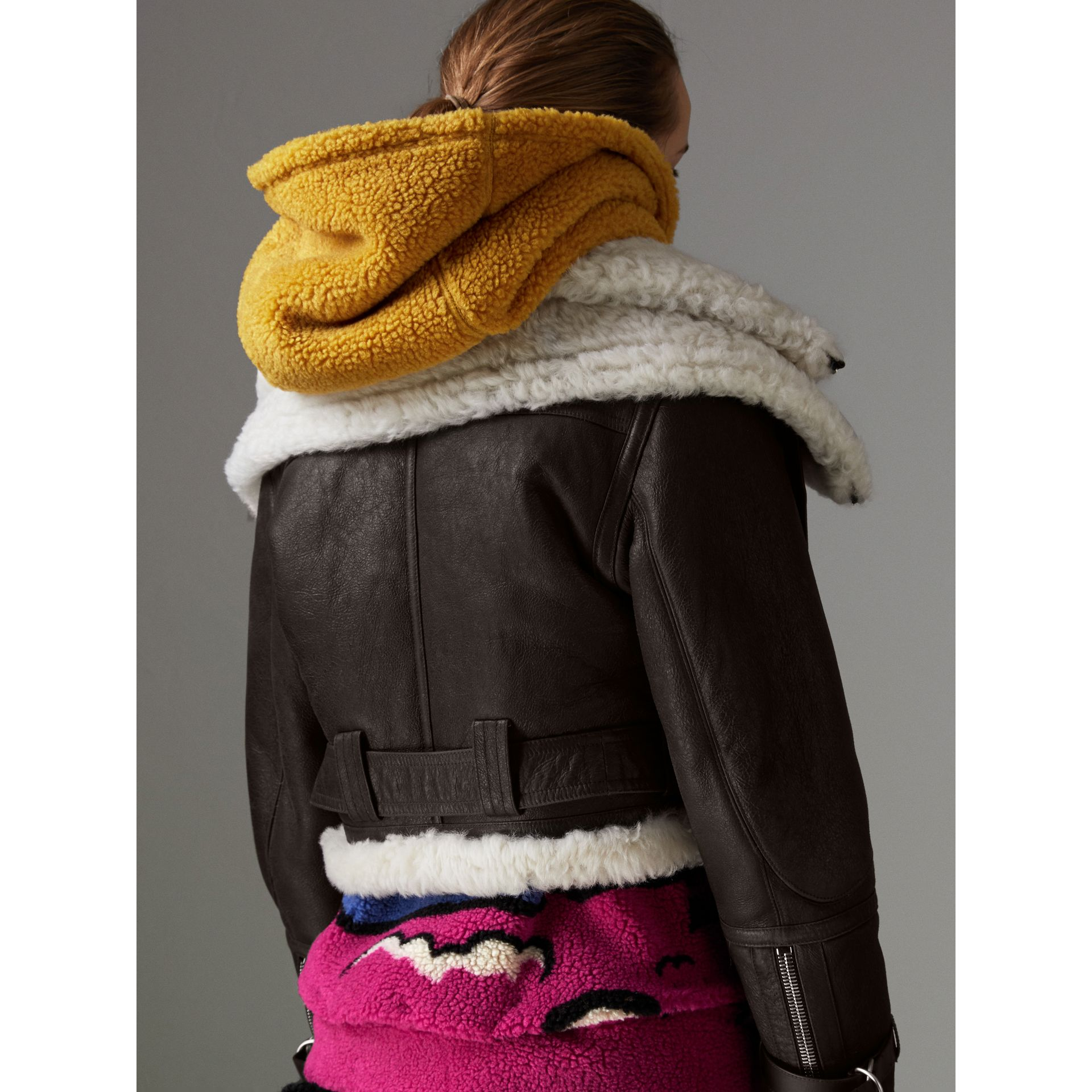 Reissued 2010 Shearling Aviator in Chocolate - Women | Burberry Canada - gallery image 2