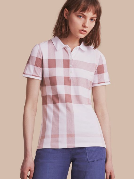 Check Stretch Cotton Piqué Polo Shirt in Antique Rose - Women | Burberry