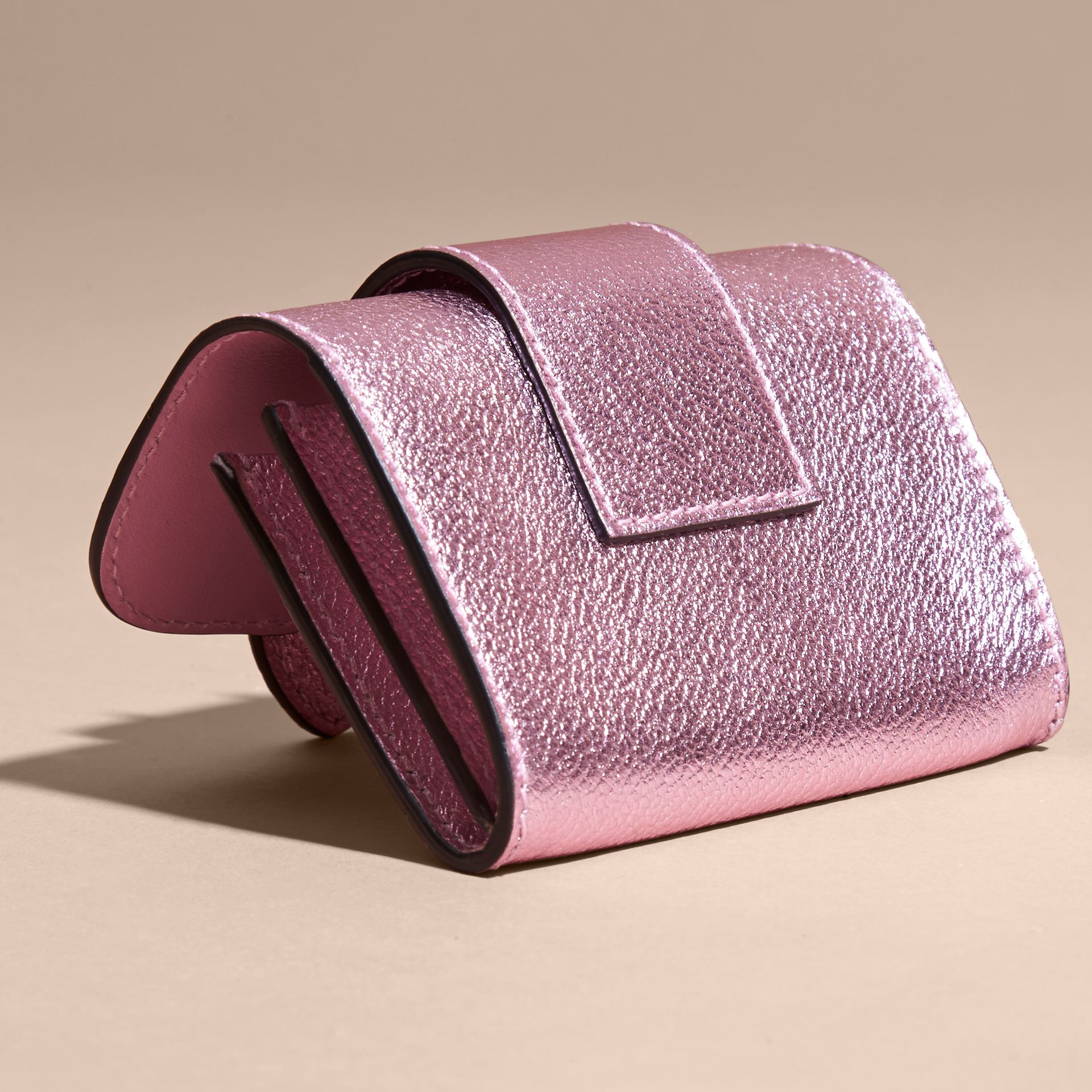 Metallic Leather Card Case in Pale Orchid - gallery image 5