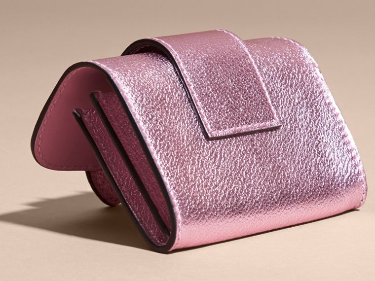Metallic Leather Card Case in Pale Orchid - cell image 4