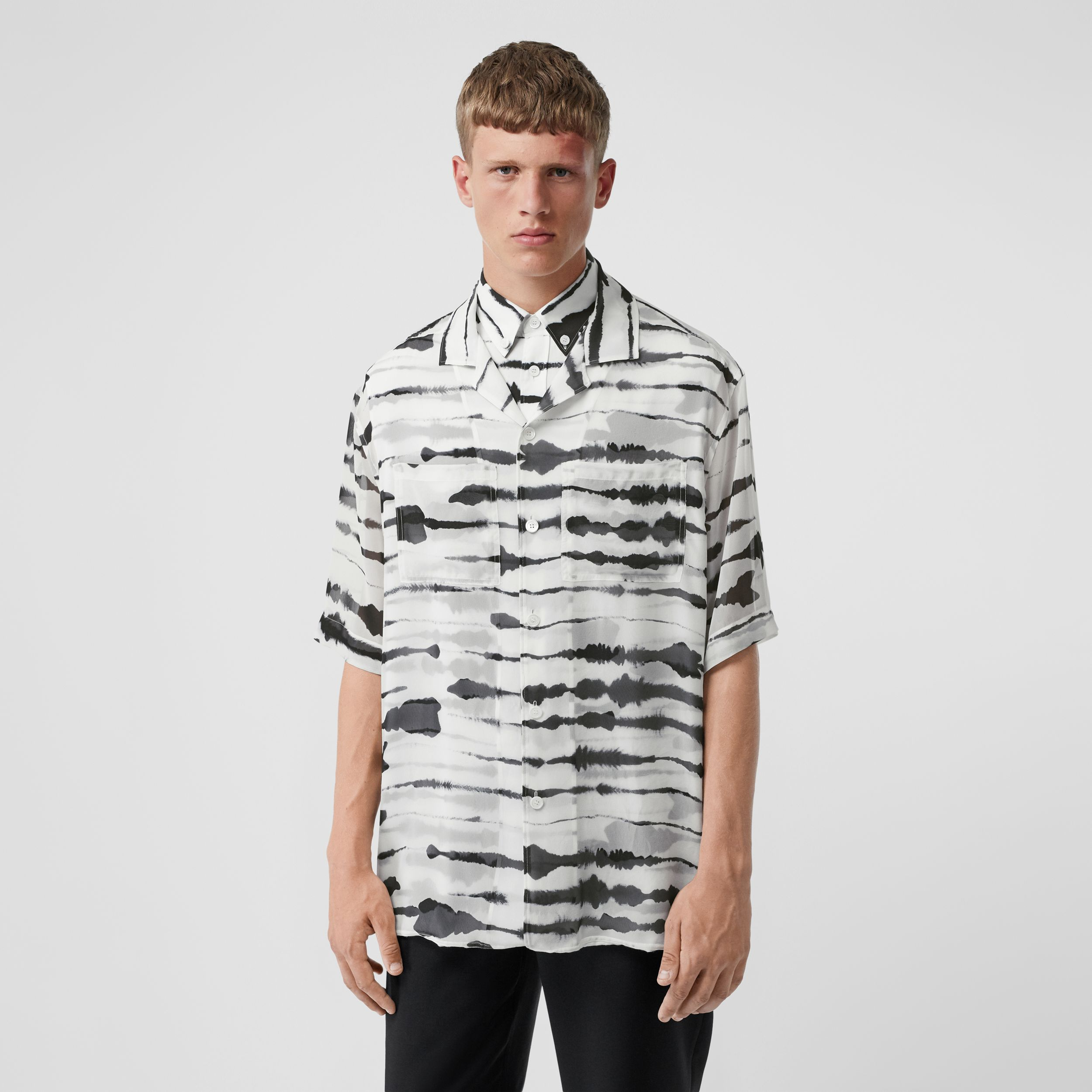 Short-sleeve Silk Overlay Watercolour Print Twill Shirt in Monochrome | Burberry - 1