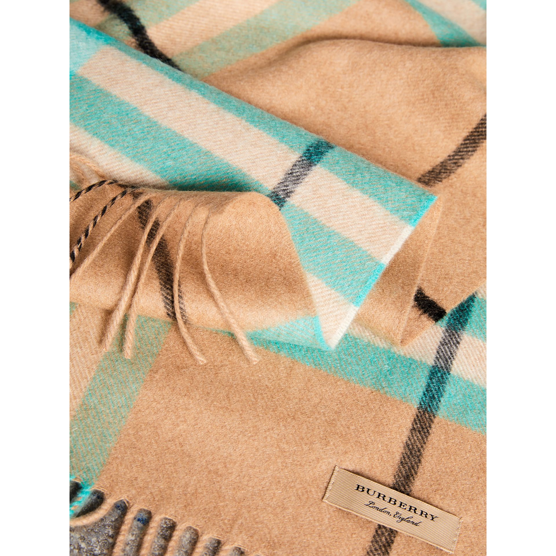 Check Cashmere Scarf in Bright Aqua | Burberry Australia - gallery image 1