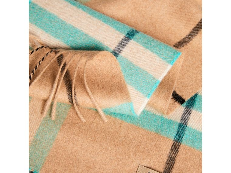 Check Cashmere Scarf in Bright Aqua | Burberry - cell image 1