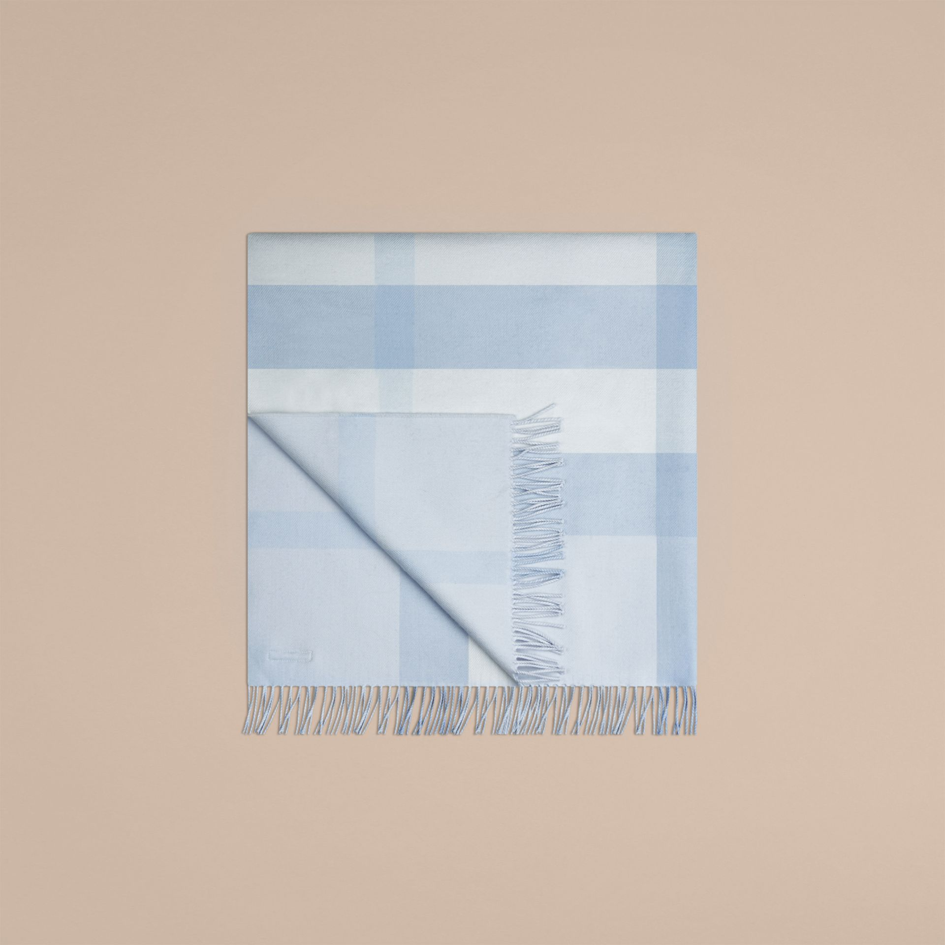Ice blue Check Cashmere Baby Blanket Ice Blue - gallery image 5