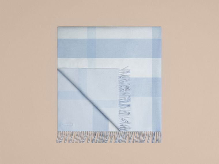 Check Cashmere Baby Blanket in Ice Blue | Burberry Australia - cell image 4