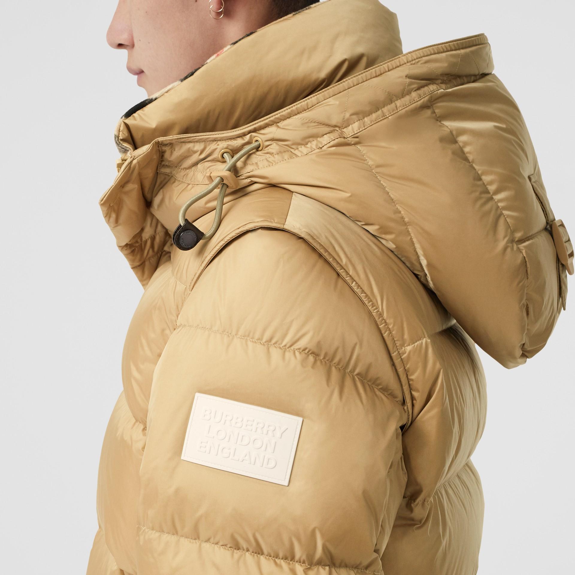 Detachable Sleeve Hooded Puffer Jacket in Honey - Men | Burberry - gallery image 1
