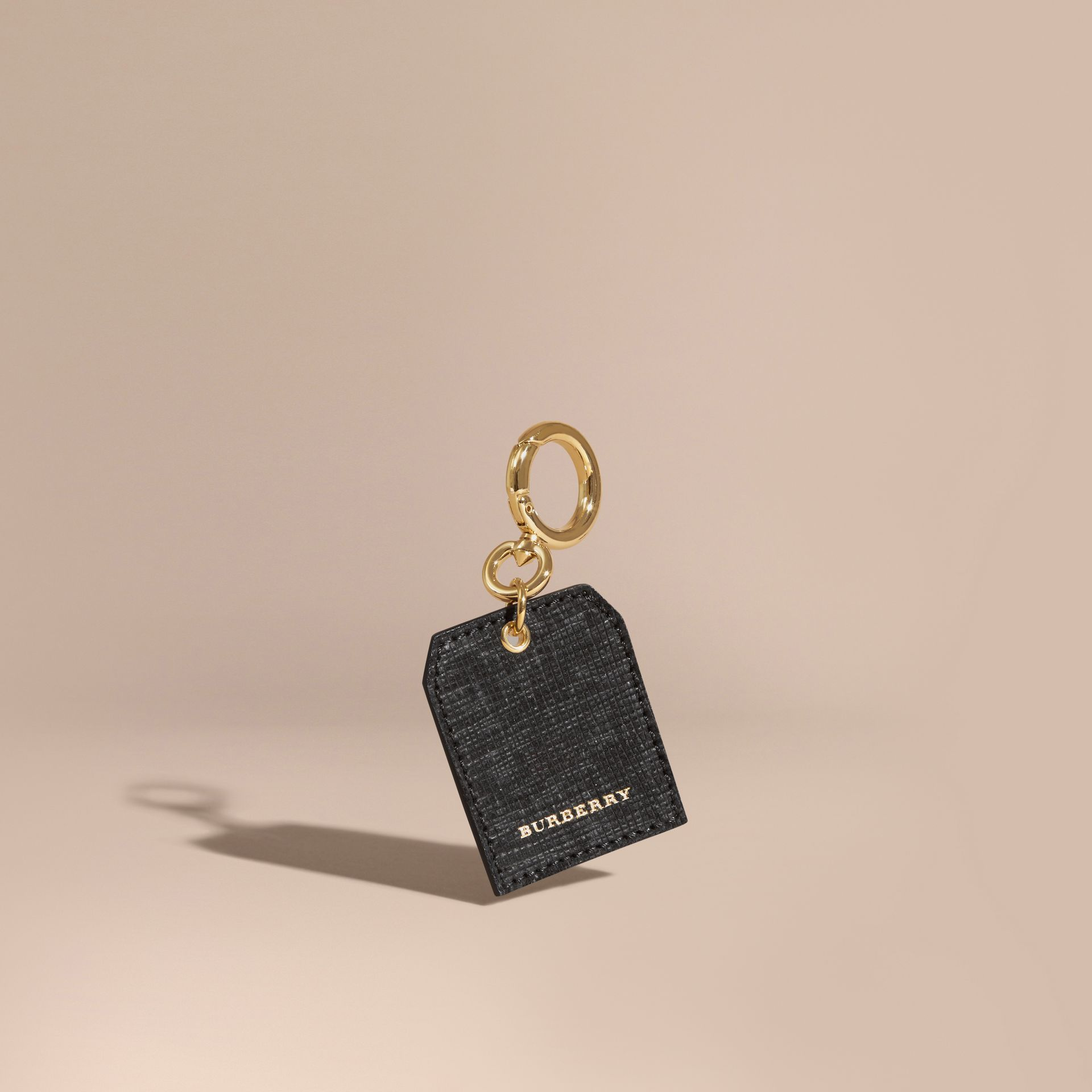 Leather Key Charm in Black - Women | Burberry - gallery image 1