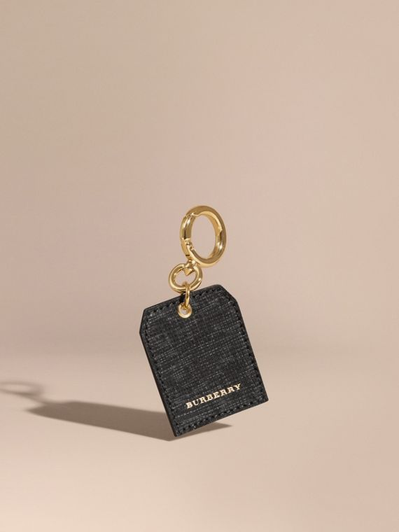 Leather Key Charm in Black - Women | Burberry