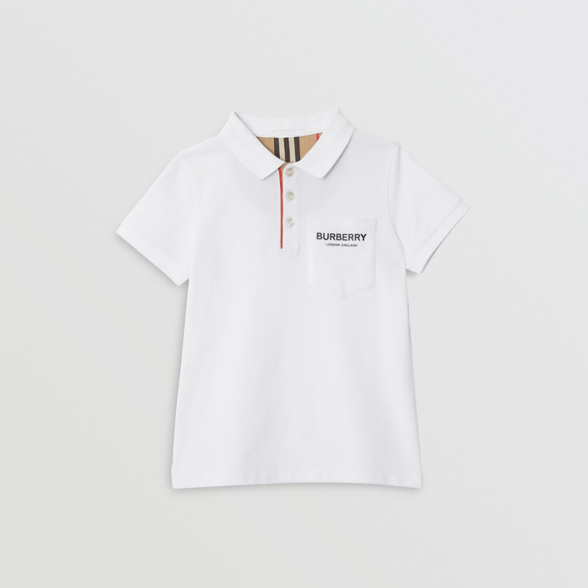 Icon Stripe Placket Cotton Piqué Polo Shirt in White | Burberry - gallery image 0
