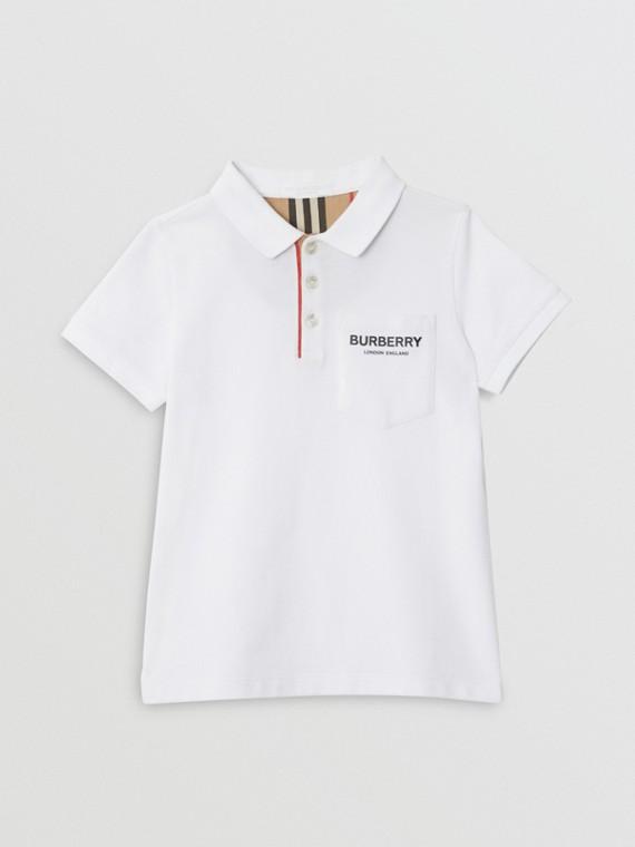 Icon Stripe Placket Cotton Piqué Polo Shirt in White