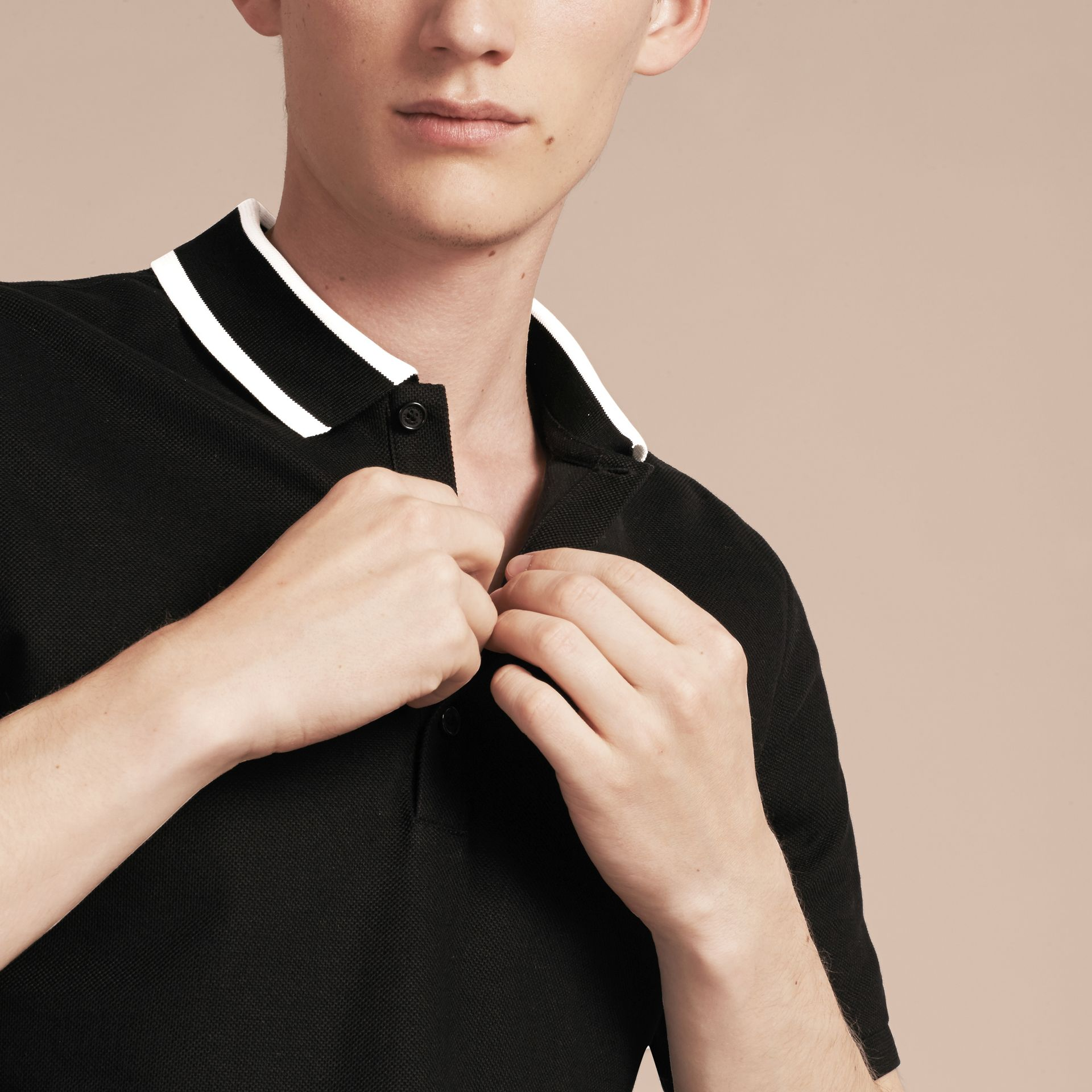 Black Striped Collar Cotton Piqué Polo Shirt Black - gallery image 5