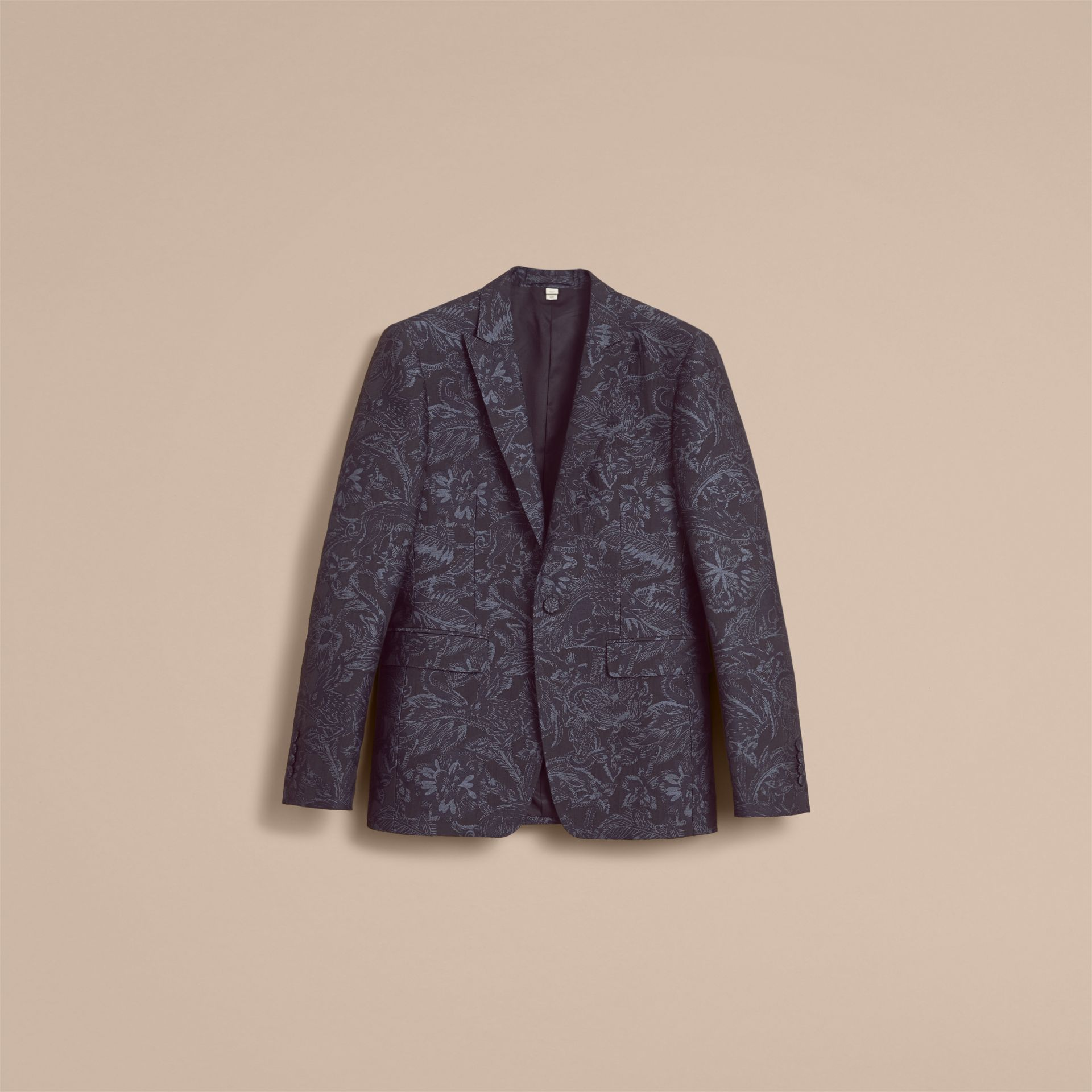 Slim Fit Beasts Fil Coupé Wool Silk Tailored Jacket in Stone Blue - Men | Burberry Hong Kong - gallery image 4