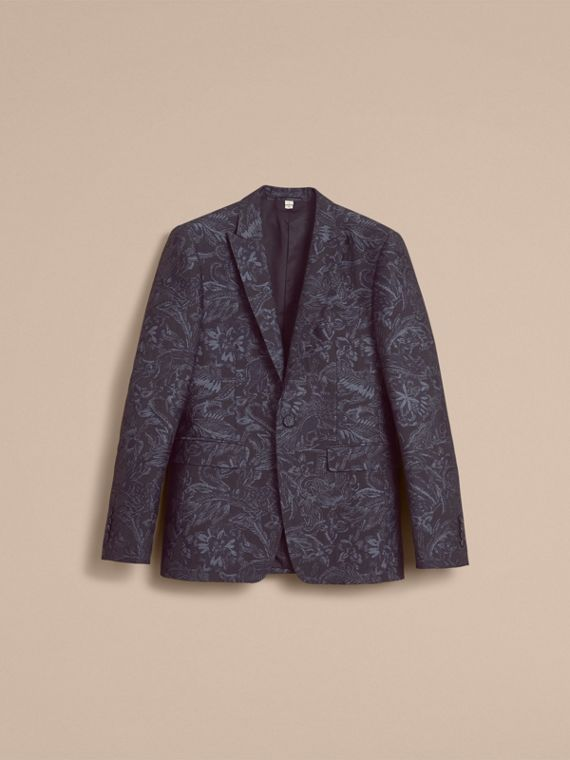 Slim Fit Beasts Fil Coupé Wool Silk Tailored Jacket in Stone Blue - Men | Burberry - cell image 3