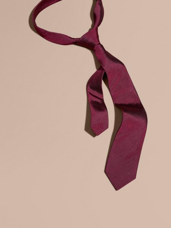 Modern Cut Silk Twill Tie Dark Plum Pink