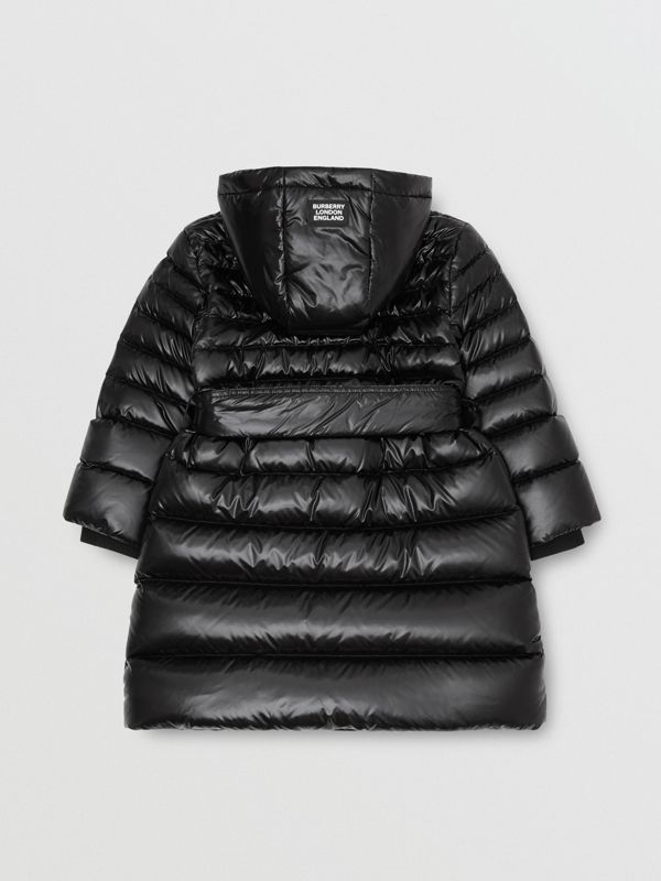 Icon Stripe Detail Down-filled Hooded Puffer Coat in Black | Burberry Australia - cell image 3